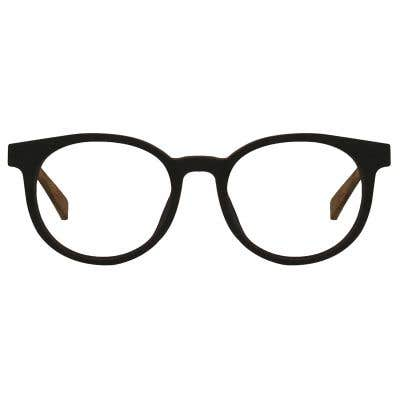 Wood Round Eyeglasses 128868-c