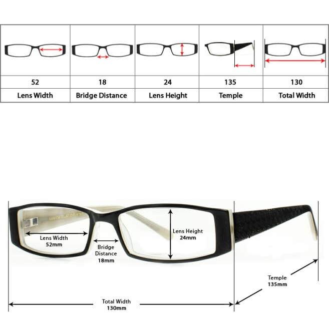 Eyeglass Frame Size Markings : Eyeglasses Size Guide